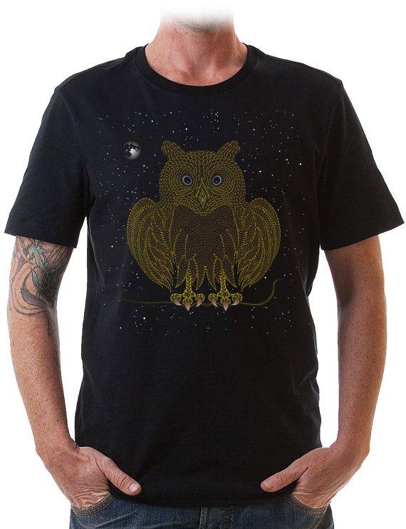 black T shirt Owl shirt mens tshirt  psychedelic by IIISOLIII, $35.00