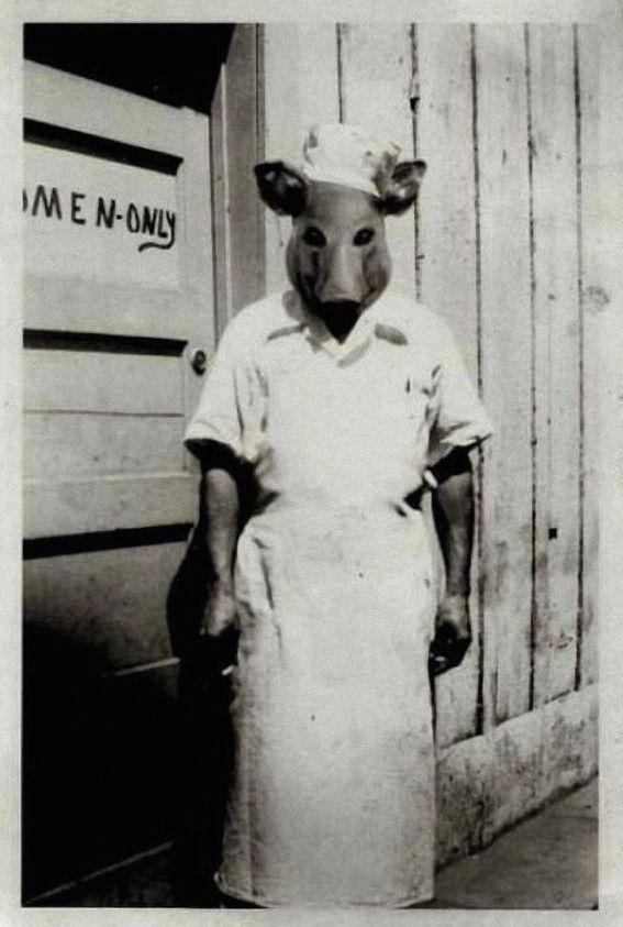 Scary Weird Creepy Old Photos ~ butcher in pig head mask