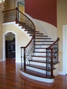 Best Curved Staircase With Stained Wood Banister And Wrought 400 x 300