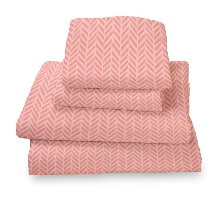 Coral Herringbone Ultra Microfiber Bed Sheet Set