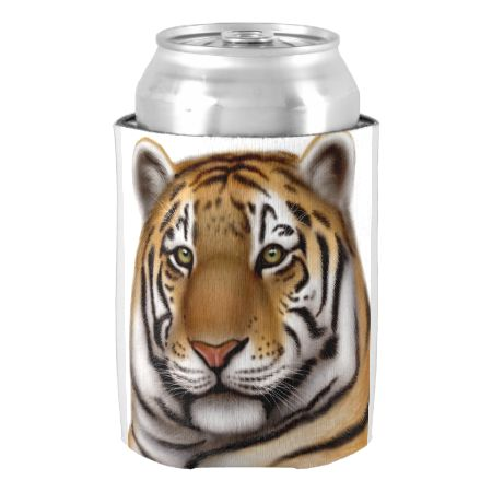 Regal Bengal Tiger Can Cooler-Original fine art design of a regal Bengal tiger by artist and designer Carolyn McFann of Two Purring Cats Studio printed on a quality can cooler for big cat fans.