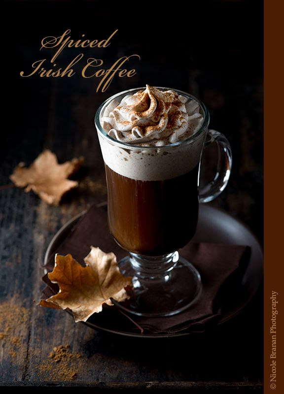 A quick and easy recipe for classic Irish coffee topped with pumpkin-spiced flavored whipped cream.