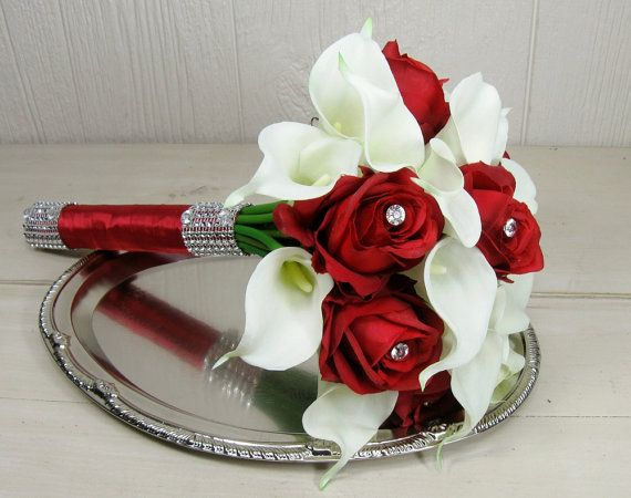 Red Rose and White Calla Lily Wedding Bouquet