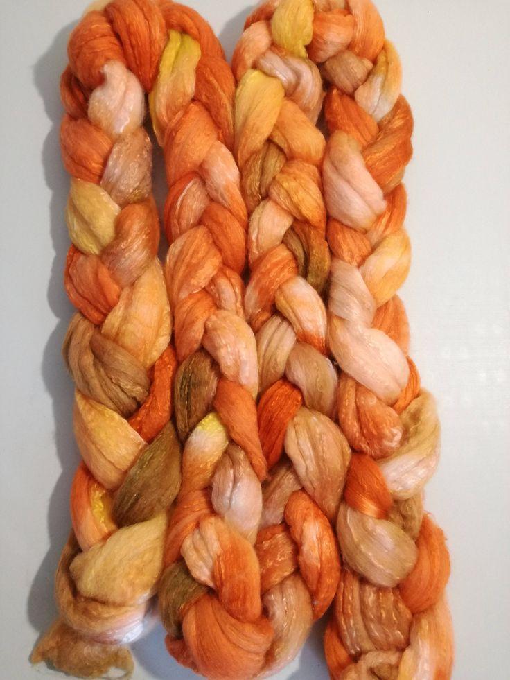 Hand dyed Merino Silk Roving, 7 oz, 200gm  tops for spinning, felting by FeltCreativeNZ on Etsy