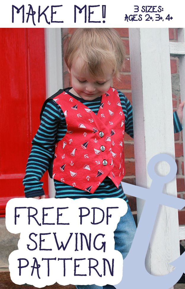 FREE Kids Waistcoat Pattern from http://barmybeetroot.co.uk/toddler-waistcoat-sewing-pattern/ (Three Sizes : Ages 2+,3+,4+ Years old)