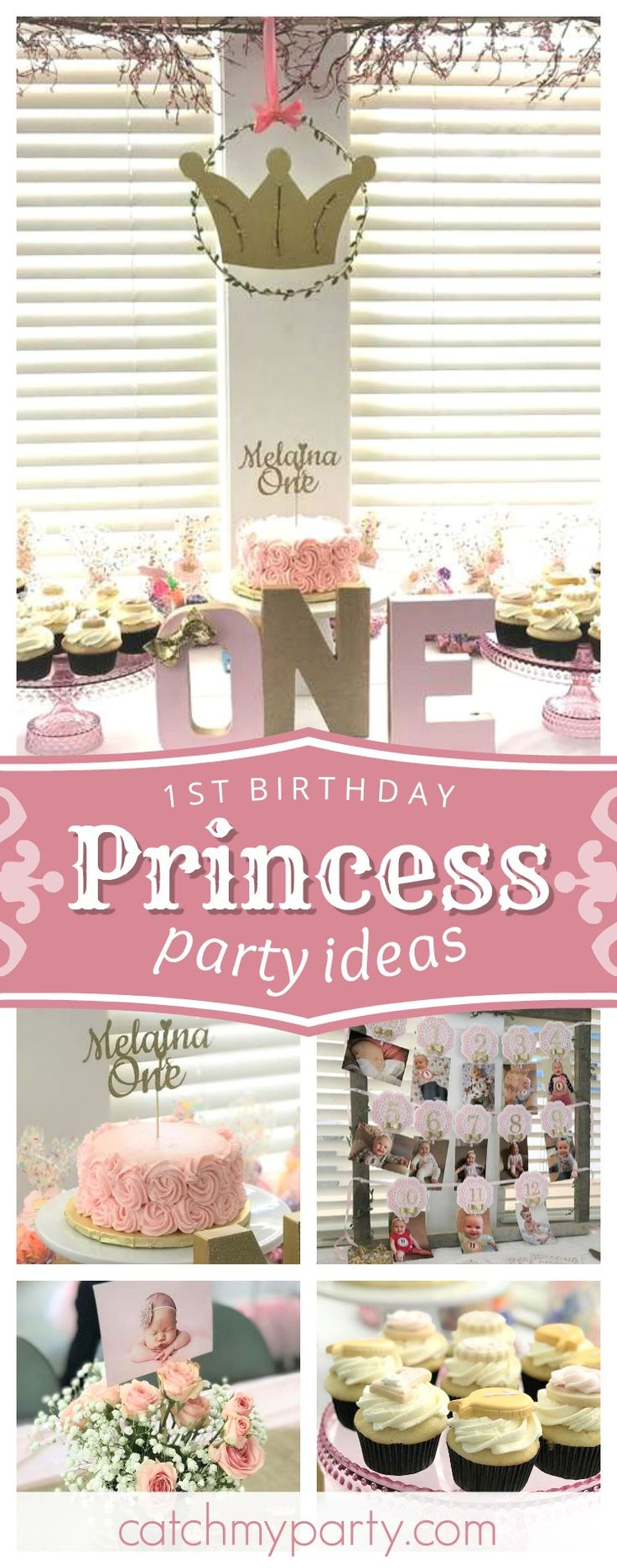 Check out this cute Princess Baby's 1st Birthday! The tutus decorating the chairs are so cute!! See more party ideas and share yours at CatchMYParty.com #princess #1stbirthday #girlbirthday