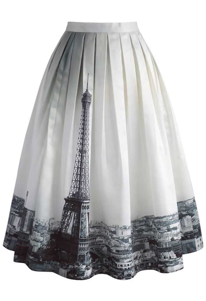 Eiffel Tower Dream Printed Midi Skirt - New Arrivals - Retro, Indie and Unique Fashion