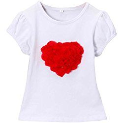 Girls Ruffle Red Roses Heart Valentine's Day T-shirt, Size Small, 3/4