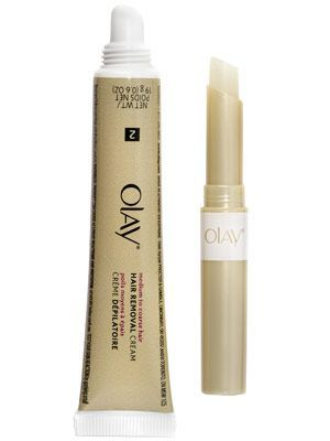 Olay Smooth Finish Facial Hair Removal Duo  WHAT IT IS: A depilatory cream and protective balm WHAT IT DOES: Removes unwanted facial hair without irritation WHY WE LIKE IT: Even wiry stubble dissolves with minimal irritation, thanks to the skin-guarding b