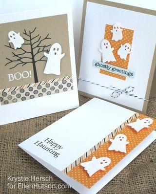 Memory Box Ghost Trio halloween cards by Krystie Hersch for EllenHutson.com