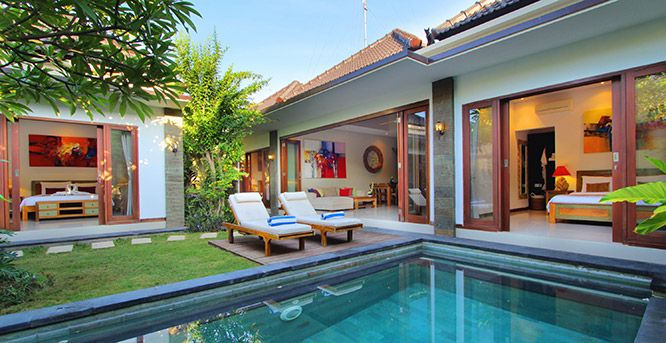 Villa Vidya Bali - 3 bedrooms, accommodates 6 guests  Centrally located to the beaches, shopping and nightlife action in Kuta and Seminyak.  Private swimming pool. Spa & Massage facilities with outside professional spa provider.  Free WiFi internet.  Fully serviced.