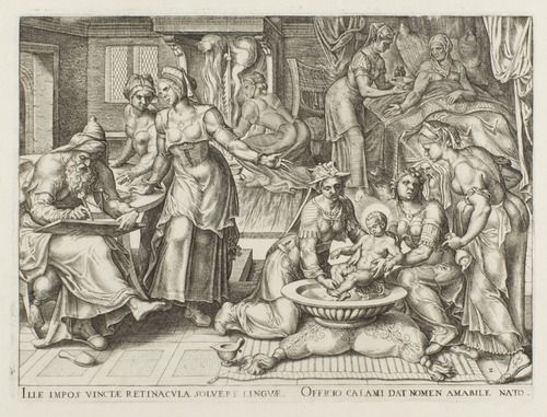 Philip Galle (Dutch, 1537-1612), The Birth and Naming of Saint John the Baptist, Plate II from The Story of Saint John the Baptist, 1564, engraving on paper