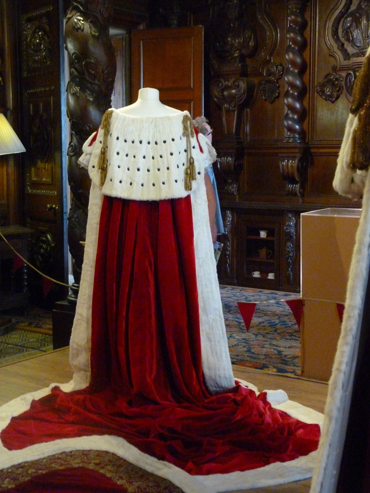 Reverse view of the robes worn by Deborah, the Duchess of Devonshire, at  the Coronation,