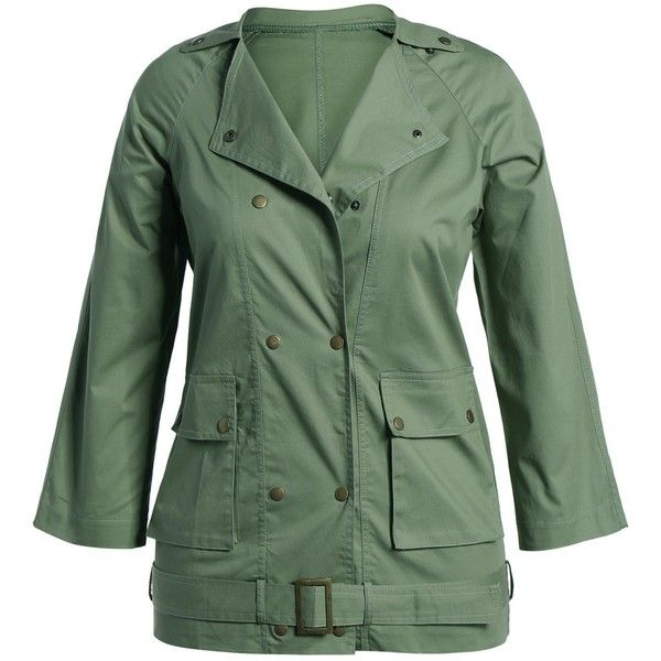 Plus Size Belted Double Breasted Trench Coat ($21) ❤ liked on Polyvore featuring outerwear, coats, plus size women's trench coat, double-breasted trench coats, green coat, plus size trench coat and womens plus coats
