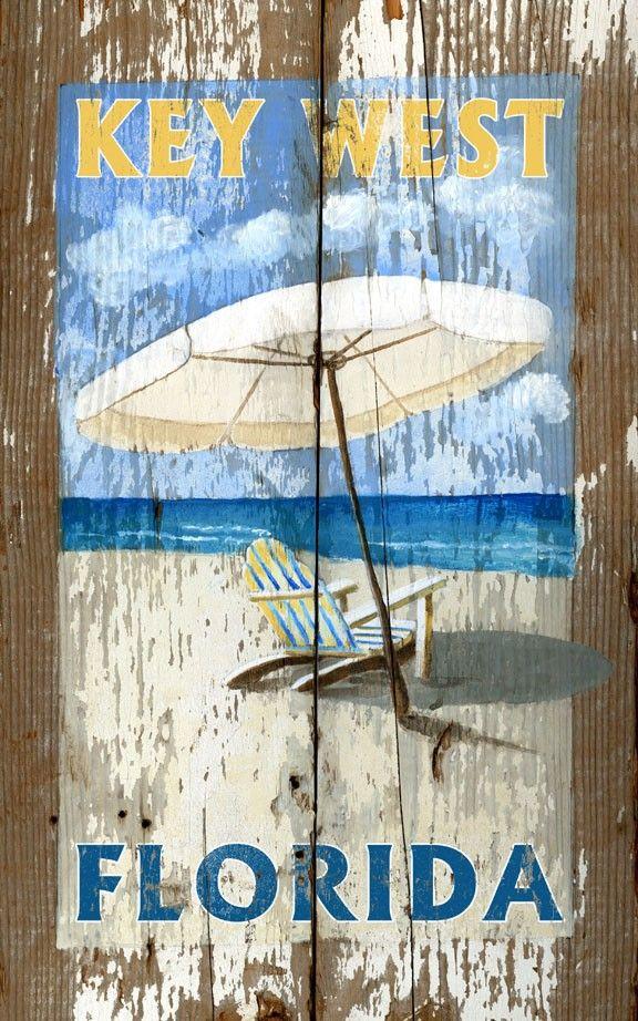 Umbrella Key West, FL - Vintage Beach Sign: Beach Decor, Coastal Home Decor, Nautical Decor, Tropical Island Decor & Beach Cottage Furnishings