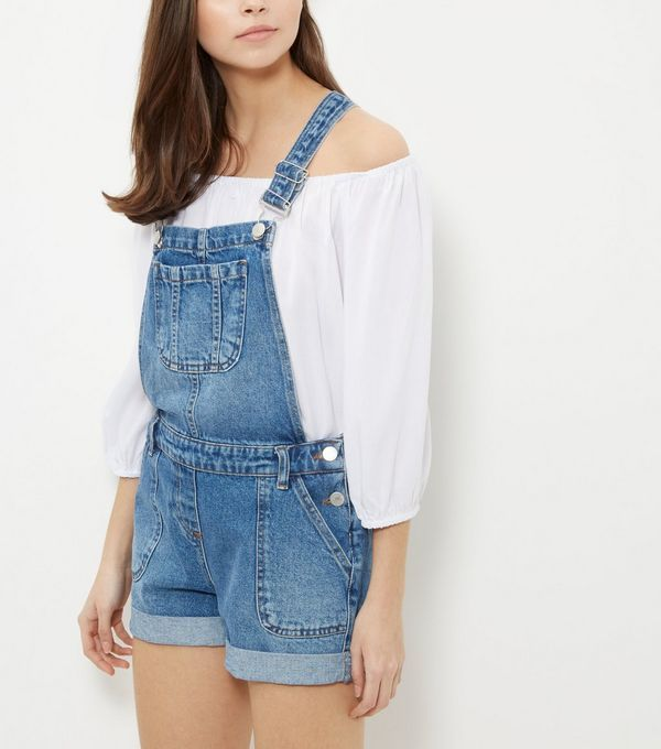 Blue Turn Up Denim Short Dungarees | New Look