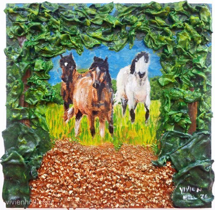 On the road (Úton) - Paverpol, 25 x 25 cm, 2016 http://www.vivienholl.com/en/portfolio-items/paverpol-on-the-road/ #paverpol #forest #road #horses #erdő #lovak