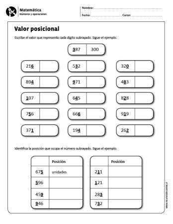 Fantástico Hojas De Trabajo Imprimibles Valor Posicional Imágenes ...
