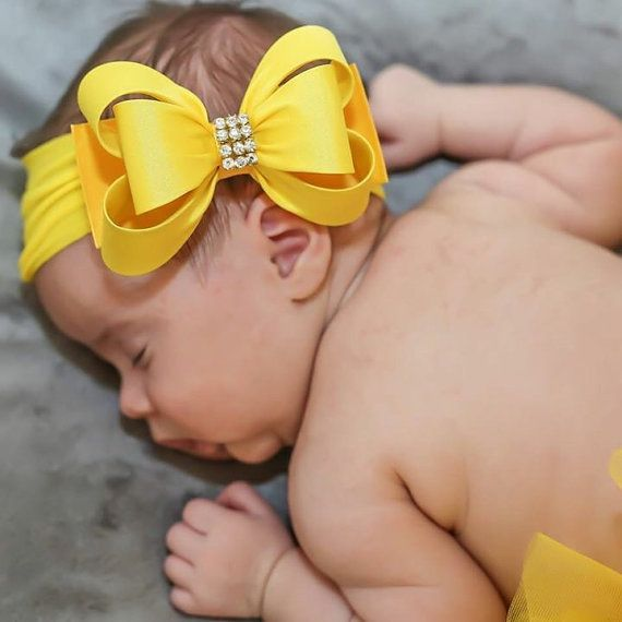 Yellow Big Bow Headband, Yellow Baby Headband, Baby Bow Headband, Newborn…