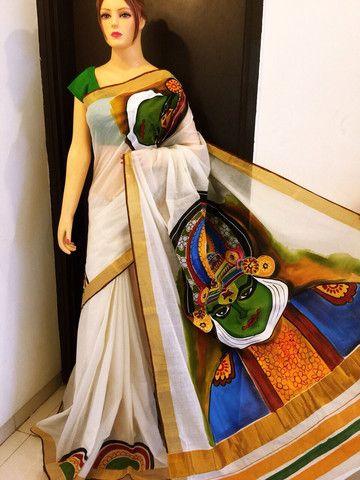 Kerala kasavu pure zari border hand painted sari