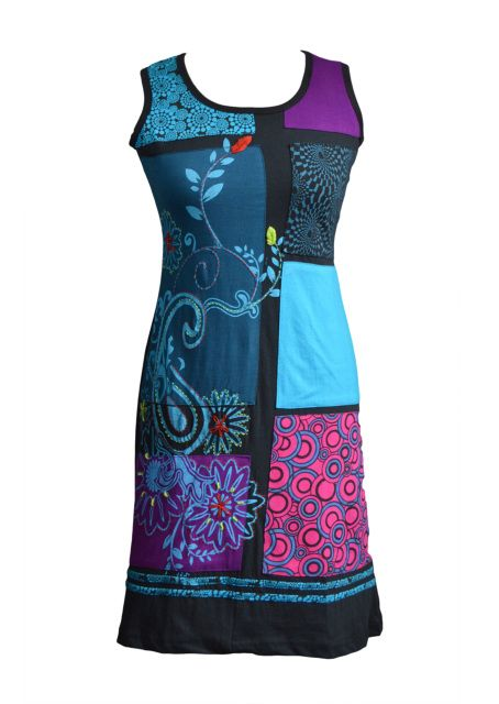 LADIES MULTICOLORED SLEEVLESS CARRY FLOWER DRESS WITH PATCH AND EMBROIDERY - ORCHID (3008)
