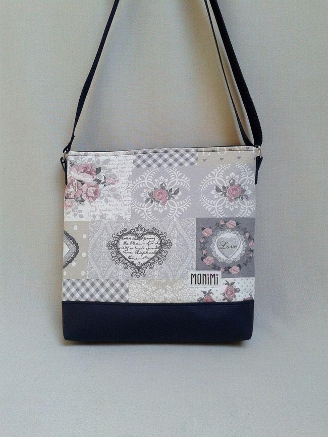 Éljen a szerelem! Gyönyörű romantikus, vintage hangulatú pasztellszínekből áll ez a patchwork jellegű anyag. A kék textilbőr szépen harmonizál, egyben keretet is ad ennek a táskának. #Daily-bag #női #táska