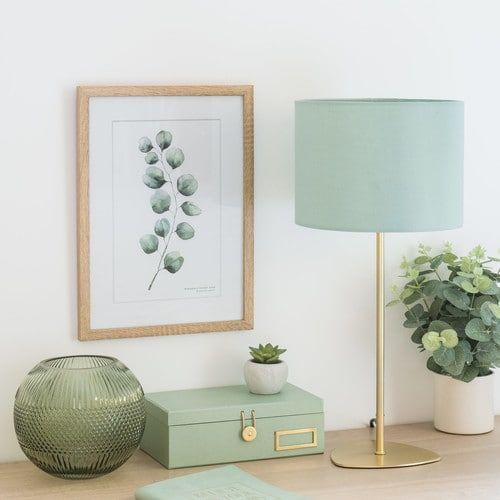 Lampe en métal doré abat-jour vert menthe