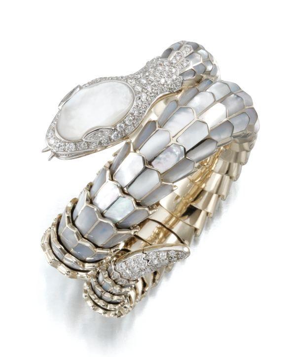 Mother of pearl and diamond snake bracelet, Carlo Luca della Quercia Illario