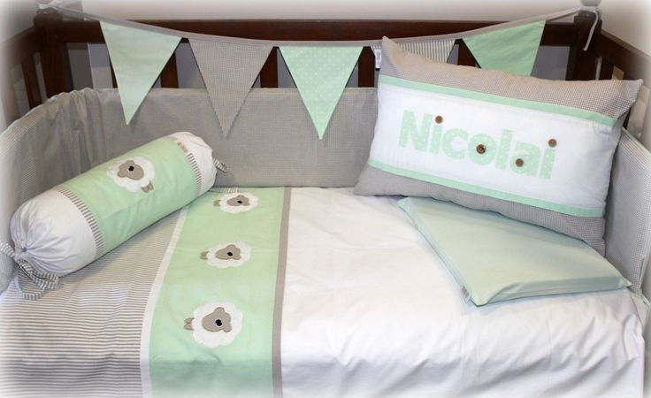 """Sweet Sheep"" nursery linen in mint, stone & white. Linen are made to order by Tula-tu Baby Linen. View more designs on our website: www.tulatu.co.za"