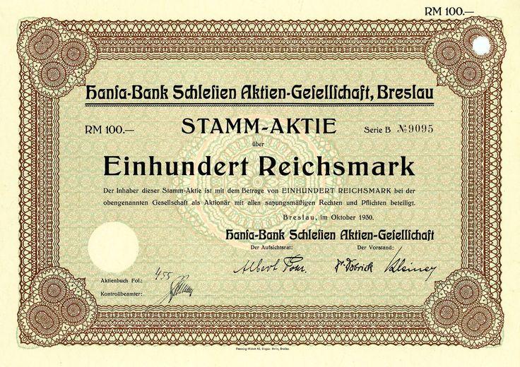 Hansa-Bank Schlesien, Breslau, Aktie über 100 RM von 1930 + ÄUSSERST SELTEN!