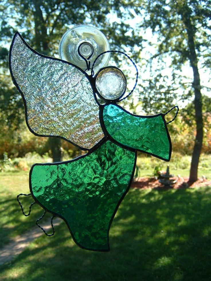 Aqua Stained Glass Angel Suncatcher. $18.00, via Etsy.