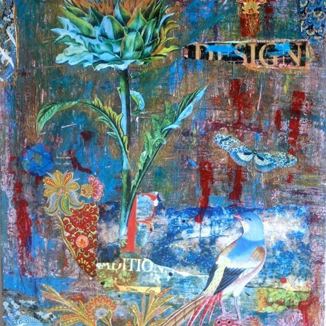 'designed to blossom' Mixed Media collage, #Ifigenia_Christodoulidou #ifigeniaart #mixedmedia #mixedmediacollage #texture #grunge #blue #design #lovefordesign #Ifigenia