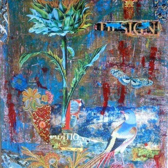 'designed to blossom' Mixed Media collage, #Ifigenia_Christodoulidou #ifigeniaart #mixedmedia #mixedmediacollage #texture #grunge #blue #design #lovefordesign #Ifigenia
