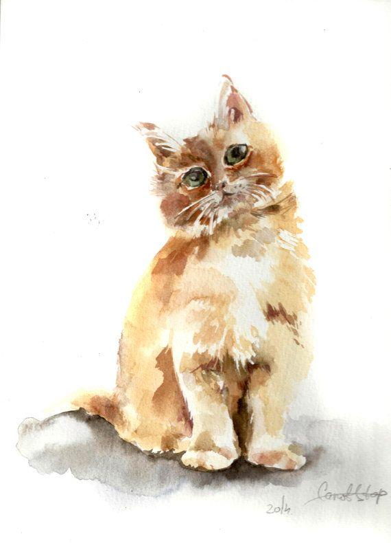 Kitten Painting Original Watercolor Painting Cat Art by CanotStop, $84.00