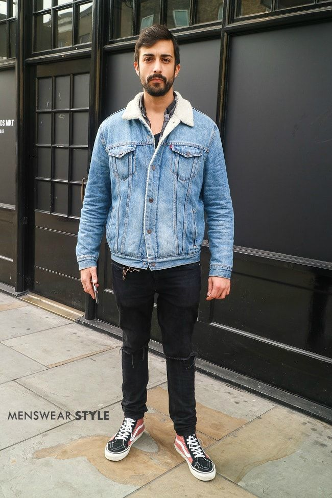 We snap Simon on the streets of London in 2018 wearing Blue Levi's Jacket with a Shearling Collar and Pink Vans Boots.