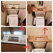 Bathroom/ハンドメイド/DIY/セリア/トイレタンク/トイレタンクを隠す...などのインテリア実例 - 2016-06-24 08:33:16|RoomClip (ルームクリップ)