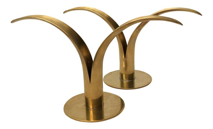 Swedish Lily Mid-Century Brass Candle Holders- A Pair