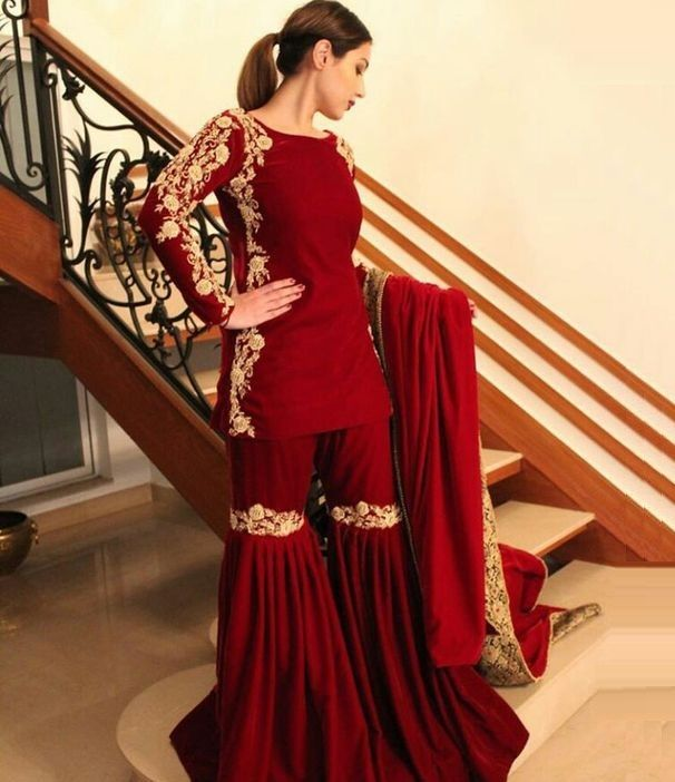reddish maroon formal gold embroidered dress with #sharara