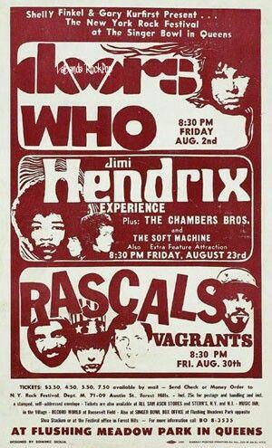 """02 de agosto 1968 (viernes)  """"El Festival de Nueva York Rock""""  The Singer Bowl, Flushing Meadows  de Nueva York, Nueva York"""