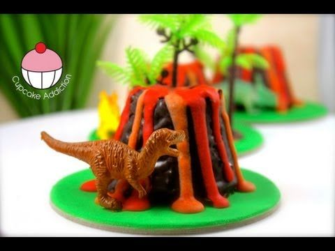Make Mini Dinosaur Volcano Cup Cakes - Learn how to make these delicious treats, and heaps more at Mycupcakeaddiction!