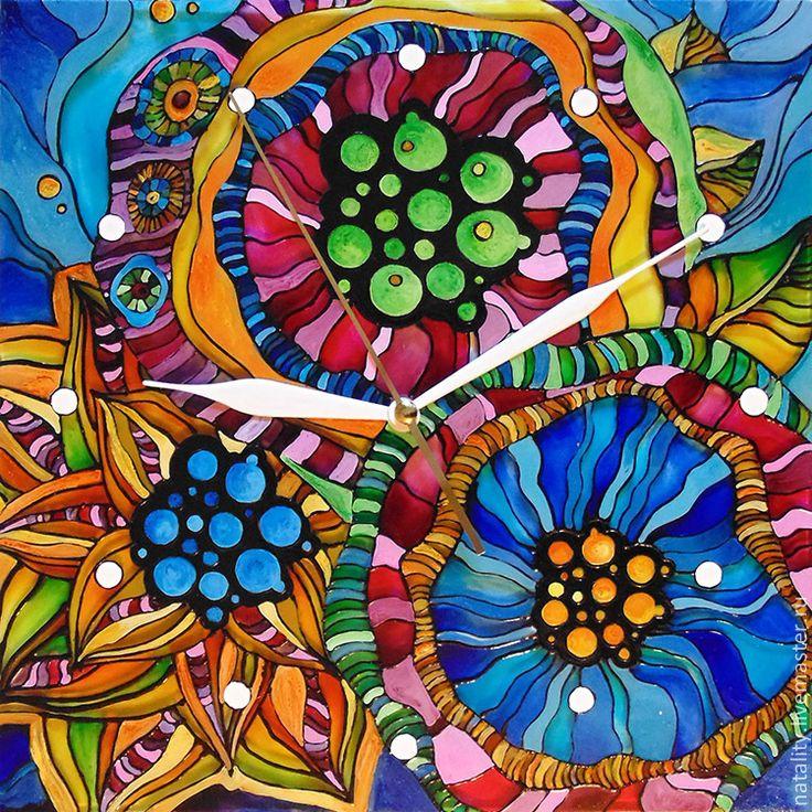 """Купить Часы """"Дикие цветы"""" - часы настенные, часы настенные из стекла, фантазийный цветок, цветы"""