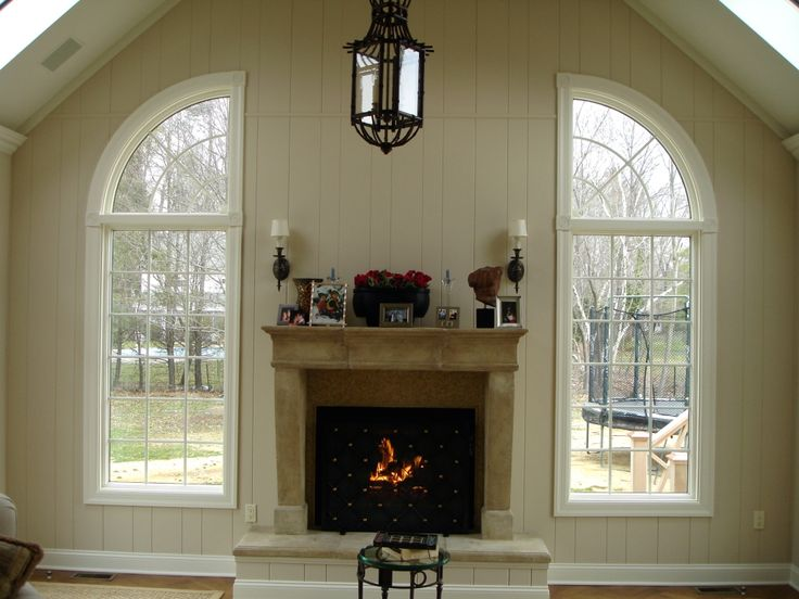 arch top windows | Andersen arch top windows flanking a fireplace ...