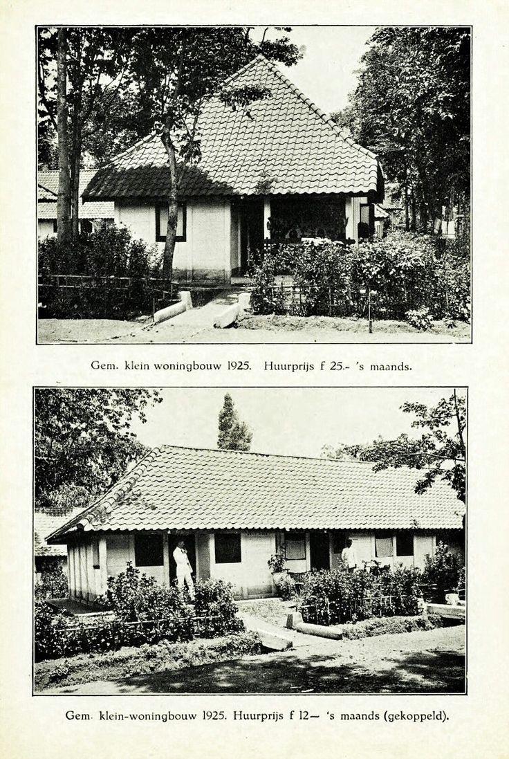Rumah type kecil tahun 1925 dengan harga sewa 25 Gulden dan 12 Gulden. Gemeente Bandoeng 1929.