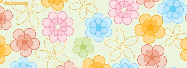 Spring Summer Rainbow Flowers Facebook Cover CoverLayout.com