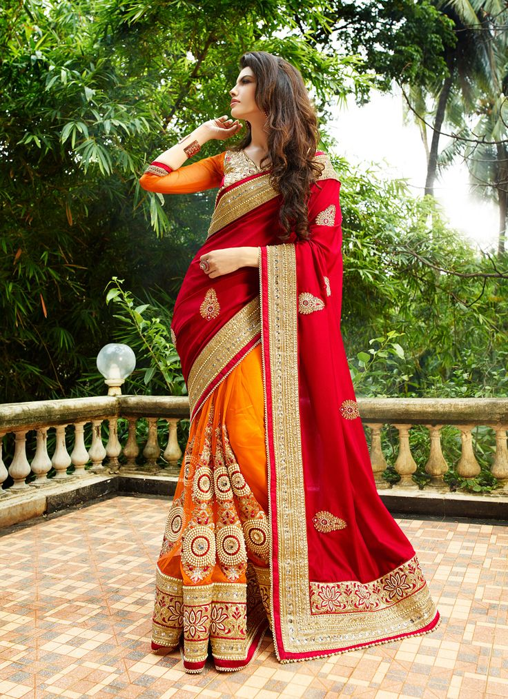 Red Georgette Half and Half Saree With Blouse 61696