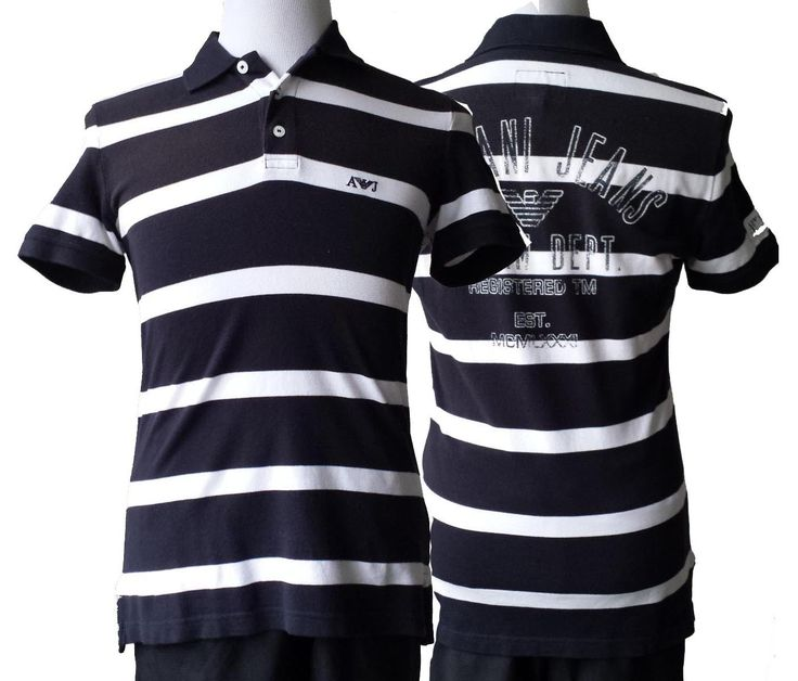 #ebay Armani Jeans men's size M slim fit striped white black POLO shirt NWT withing our EBAY store at  http://stores.ebay.com/esquirestore