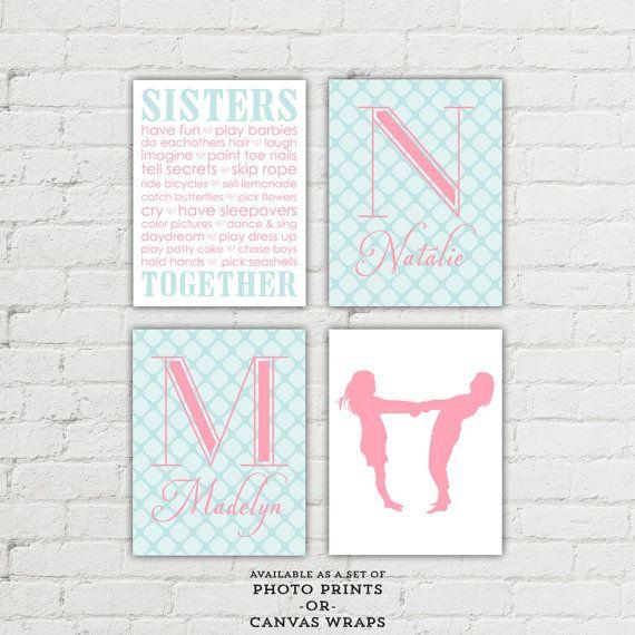 Sisters bedroom wall art - girls playroom art - girls bathroom decor - sisters monogram twins - silhouette - pink and aqua