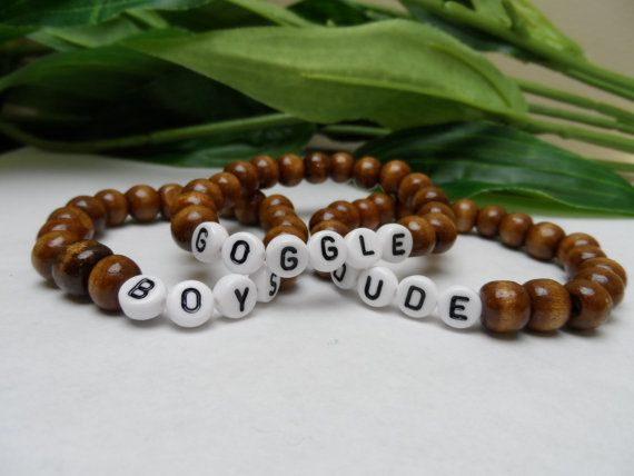 Boys custom wooden bead stretchy bracelets by IckleCollections