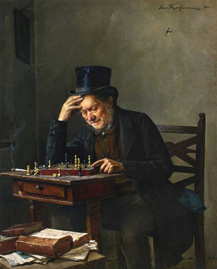 """The chess board is the world, the pieces are the phenomena of the universe, the rules of the game are what we call the laws of Nature. The player on the other side is hidden from us. We know that his play is always fair, just and patient. But we also know, to our cost, that he never overlooks a mistake, or makes the smallest allowance for ignorance."" (Thomas Huxely)  Art: Isidor Kaufmann; The chess player"