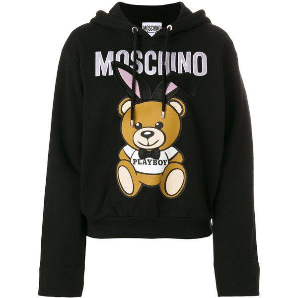 Moschino Bear Sweatshirt (£610) ❤ liked on Polyvore featuring tops, hoodies, sweatshirts, black, hoodie sweatshirts, hoodie crop top, bears hoodies, hooded sweatshirt and leather crop tops